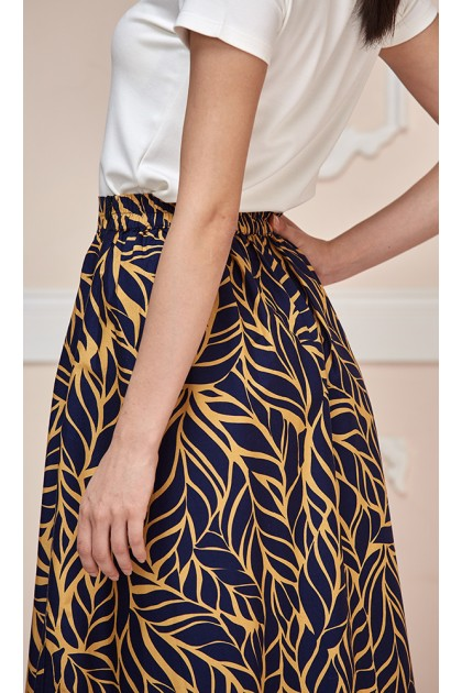 Tropical Leaf Maxi Skirt in Black and Brown