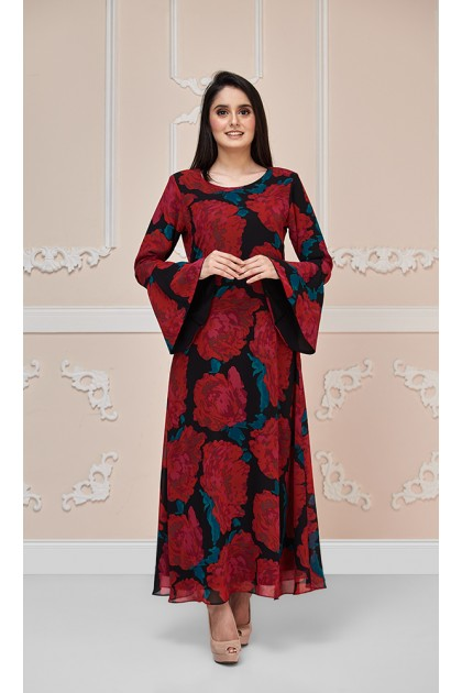 Summer Rose Maxi Dress in Red and Black